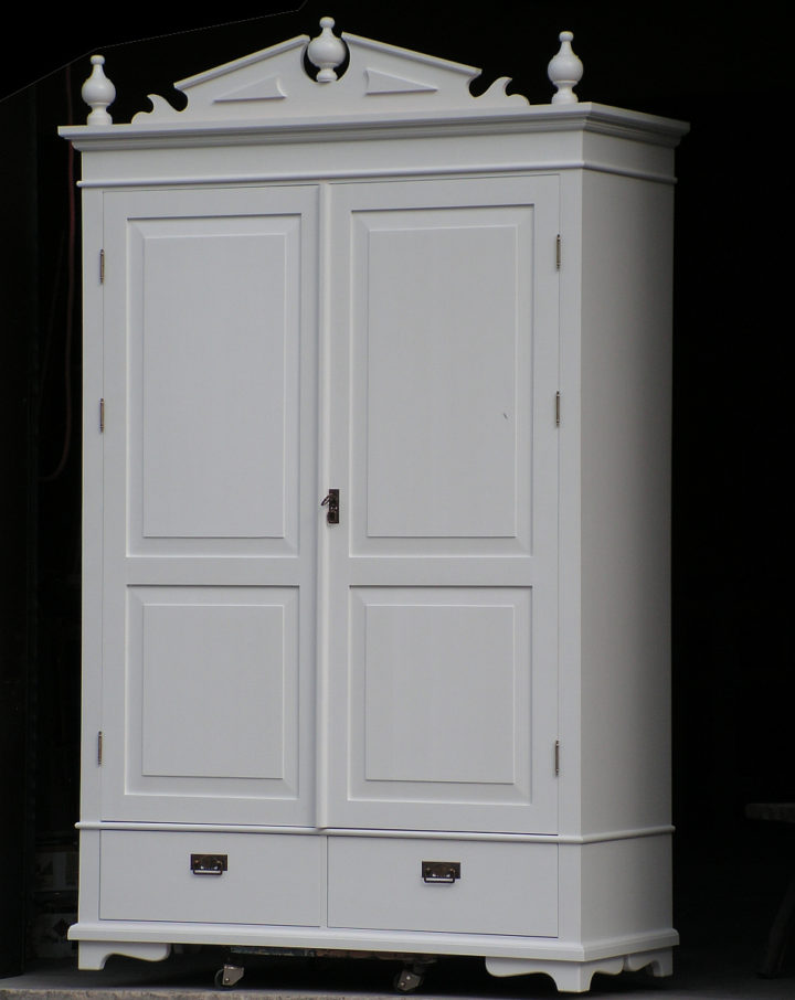 Solid wood wardrobe with crown on top
